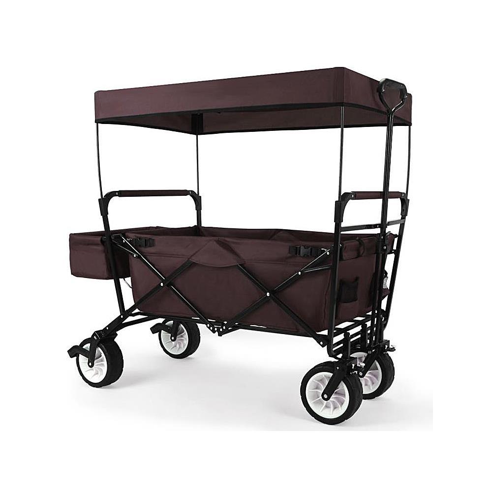 jw76cb braun faltbarer bollerwagen mit dach hecktasche. Black Bedroom Furniture Sets. Home Design Ideas
